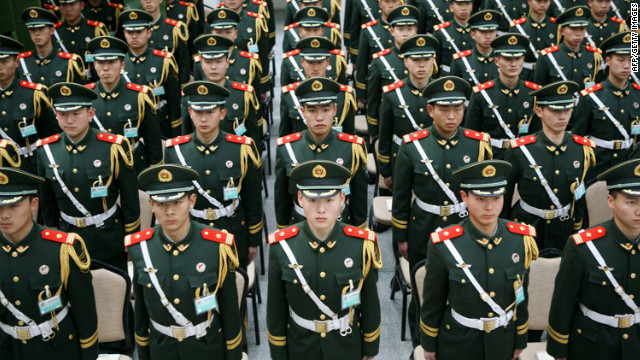 Chinese paramilitary police undergo a drill to prepare for the upcoming National People's Congress in Beijing.