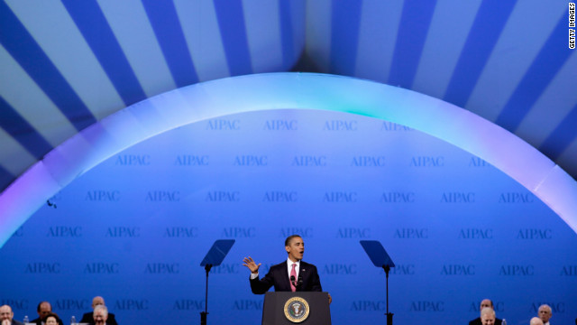President Obama addresses the American Israel Public Affairs Committee's annual conference in Washington on Sunday.