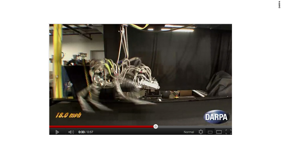 DARPA is already famous as the agency behind some of the US military's more far-fetched war robots. In this picture, a robotic 'cheetah' takes to the treadmill at 18mph, setting a land speed record for legged robots.