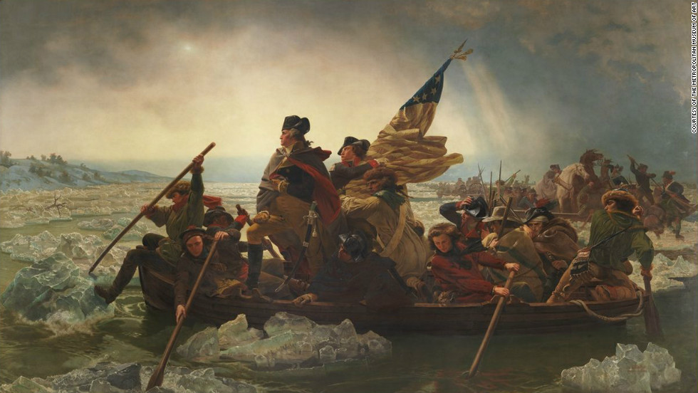 "Major historical events were immortalized in painting, such as in ""Washington Crossing the Delaware"" (pictured) by Emanuel Gottlieb Leutze."