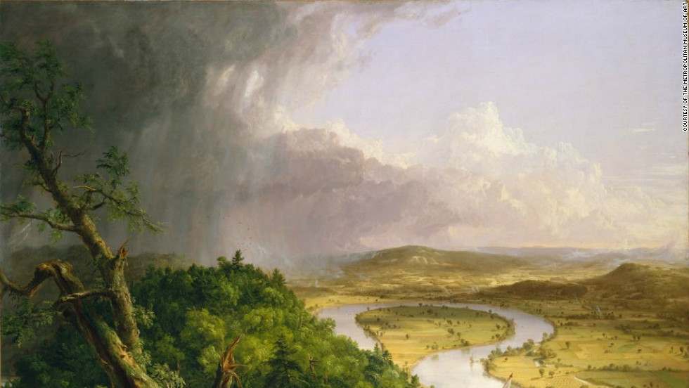 "The natural environment was of great importance to painters from the Hudson River School. Pictured is the work ""View from Mount Holyoke, Northampton, Massachusetts, after a Thunderstorm,"" by Thomas Cole."