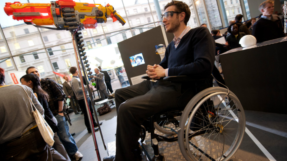 "Students in London have designed some novel solutions to improve sports participation for disabled athletes. This prototype is called ""Headshot"" and lets severely disabled athletes compete with the able-bodied in clay-pigeon shooting. Aiming and firing is controlled by a specially designed headset."
