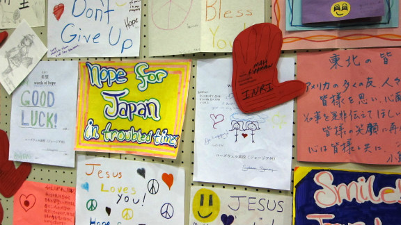 "During the ""Words of Hope for Japan"" campaign launched by Kathleen Koch, hundreds of volunteers translated thousands of letters sent to earthquake and tsunami victims in Japan.  This bulletin board full of letters was posted at a surprise concert at a school turned shelter in Minamisoma, Japan."