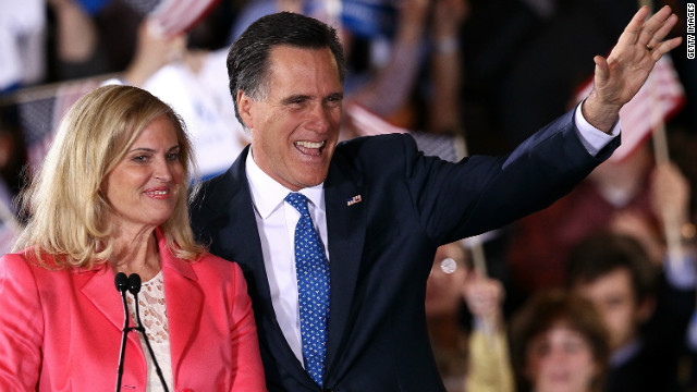 Mitt Romney and his wife, Ann, thank supporters Tuesday night in Boston after his Super Tuesday wins.