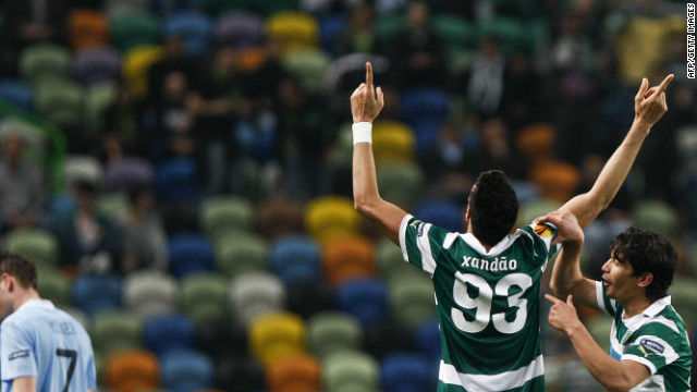 Sporting central defender Xandao celebrates his superb goal against Manchester City.
