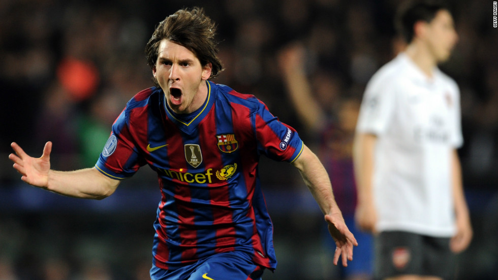 Messi's first four-goal tally in the Champions League came in 2010 as Barca beat Arsenal 4-1 in a quarterfinal second leg.