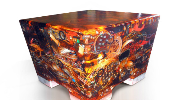 """""""N+ew Seats"""" by designer Rodrigo Alonso are made from recycled electronic waste dipped in epoxy resin"""
