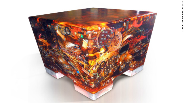 """N+ew Seats"" by designer Rodrigo Alonso are made from recycled electronic waste dipped in epoxy resin"