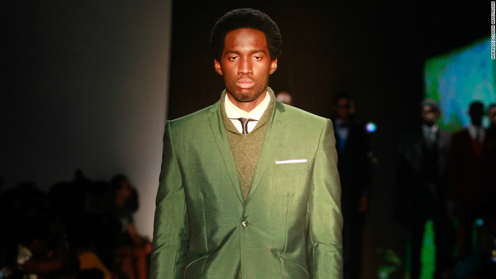 A model wears Ozwald Boateng.