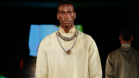A model wears Amrapali, an Indian label showing in Lagos.