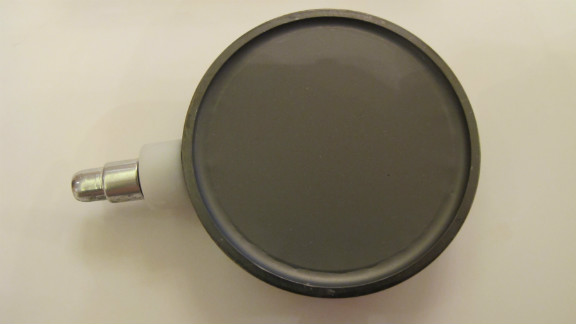 The 'pancake sensor' used inside the Geiger counter to measure radiation.  Radiation rays collide with the atoms of the gas inside a tube, creating a pulse.  The number of counts per minute can be converted into a hourly rate of microsieverts of radiation.