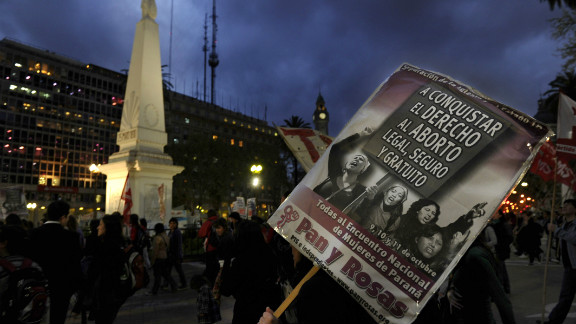 Women march on September 28, 2010, to demand the approval of a bill allowing abortion in Argentina.