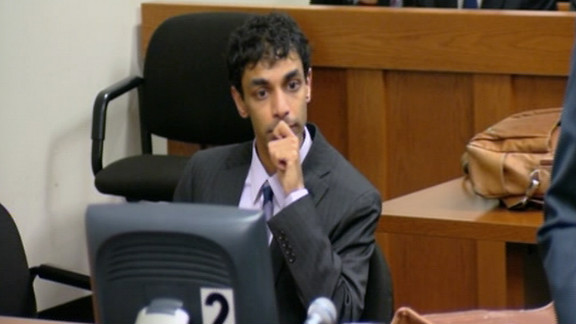Former Rutgers University student Dharun Ravi listens as a jury finds him guilty of invasion of privacy and bias intimidation.