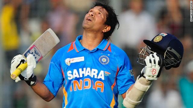 India's Sachin Tendulkar has become the first man in cricket history to make 100 international hundreds
