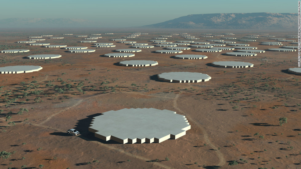 In addition to 3,000 dishes there will be two sets of aperture array antennas -- dense (pictured in this CGI) and sparse -- which will pick up lower frequencies.