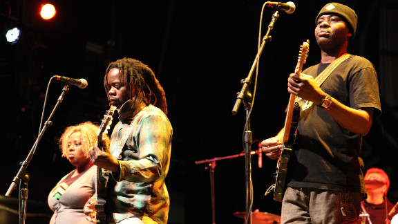 Titi Tsira (left) from South Africa and Mermans Kenkosenki (middle) and Jason Tamba (right) from the Democratic Republic of Congo are some of the African musicians representing the continent in Playing for Change.