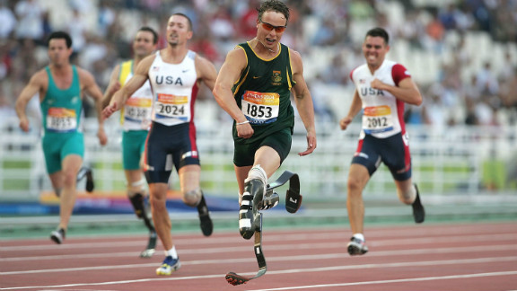 Pistorius claimed gold for the first time at the 2004 Athens Paralympics in the final of the men's 200m, setting a new world record.