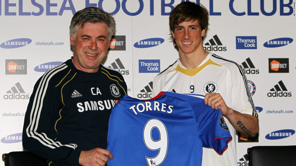 Torres moved to Chelsea from Liverpool in January 2011 for a British-record transfer fee of £50 million ($75 million).