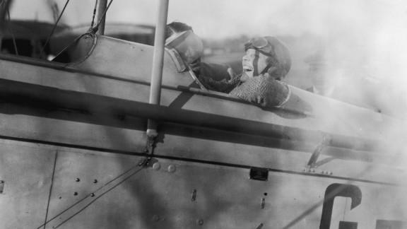 Amelia Earhart pilots a Moth plane in June, 1928.