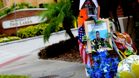 A memorial to Trayvon Martin outside The Retreat at Twin Lakes community where he was shot by George Michael Zimmerman.