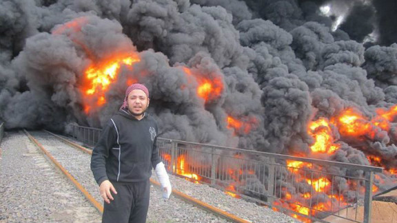 A photo from the Syrian opposition Local Coordination Committee is said to show a bombed oil pipeline in Homs, Feb. 15, 2012.
