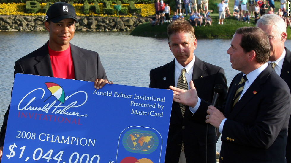 Woods' fifth win at Bay Hill came in 2008 courtesy of a 25-putt on the final hole. It was the American's third successive PGA Tour victory that year, and fifth in a row going back to 2007. He won two out of three before that run, tying for second in the other.