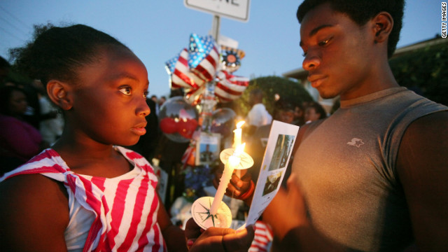 Young supporters hold a candlelight vigil for Trayvon Martin in Sanford, Florida.