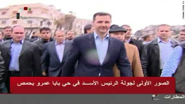 Al-Assad visits besieged Homs area