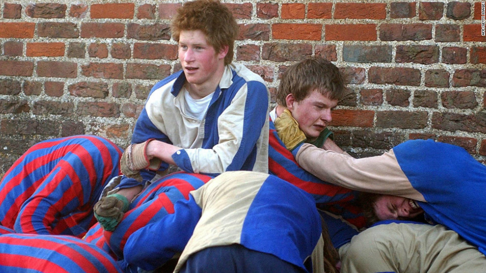 March 2003: Prince Harry plays the Wall Game, a traditional sport at Eton College.