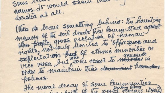 """The handwritten first page of Mandela's unpublished sequel to his autobiography, """"Long Walk to Freedom."""""""
