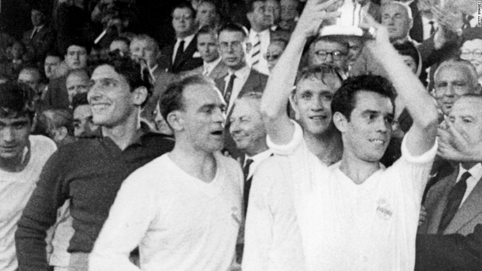 Real's European pedigree is unrivaled, having won the continent's top club competition on a record nine occasions since 1956. Captain Jose Santamaria is pictured here lifting the European Cup after Real's win against French team Stade de Reims in 1959.