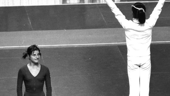 As Comaneci celebrated gold in the balance beam event, her main inspiration Olga Korbut had to settle for a silver medal in Montreal.