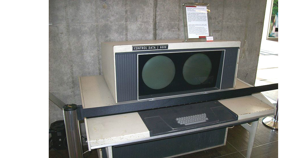 A console from what is considered the world's first supercomputer -- the CDC 6600. Designed by American Seymour Cray and completed in 1964, it could perform more than one million floating point operations per second.