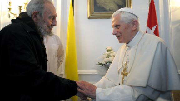 Pope Benedict XVI meets with Cuban leader Fidel Castro, left, Havana on Wednesday.