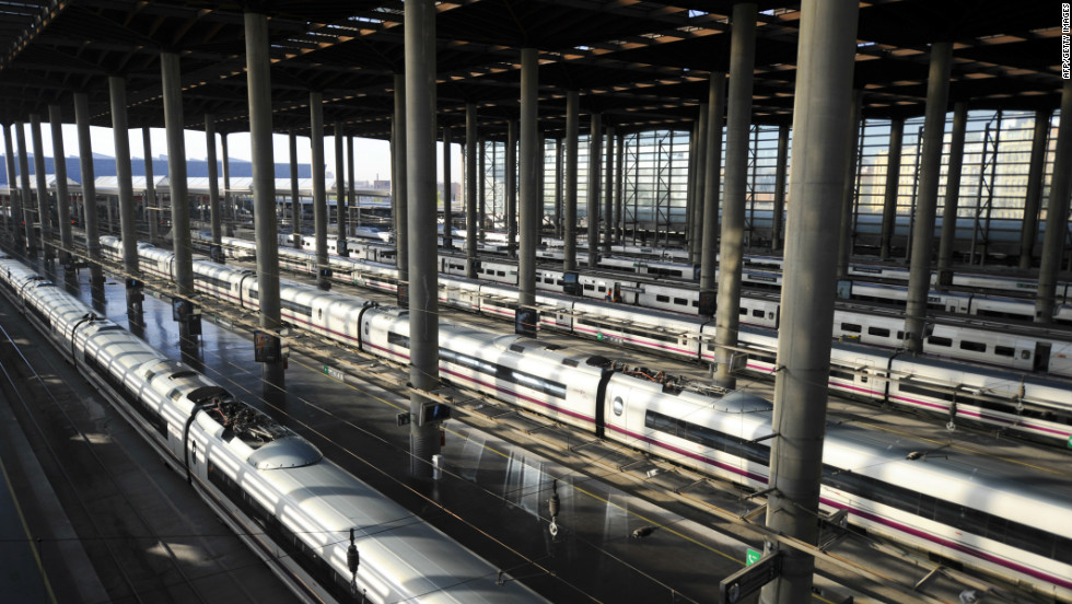 High-speed trains are blocked at Atocha railway station as a strike brings Madrid to a standstill on March 29.
