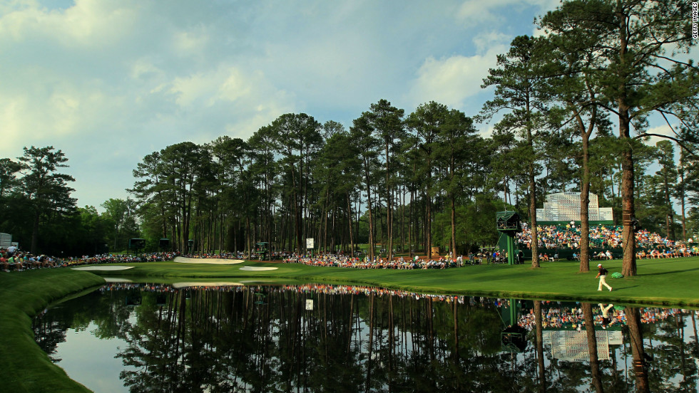 Five holes on Augusta's back nine have water waiting to snare any errant shots. Raes Creek runs behind the 11th, in front of the par-three 12th and onto the par-five 13th. More water awaits at 15 and 16 (pictured) where many players' Masters challenge have met a watery end.