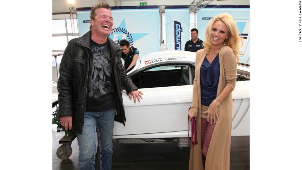 The former Playboy model pictured alongside German socialite Marcus Prinz von Anhalt at the Downforce1 launch last year.
