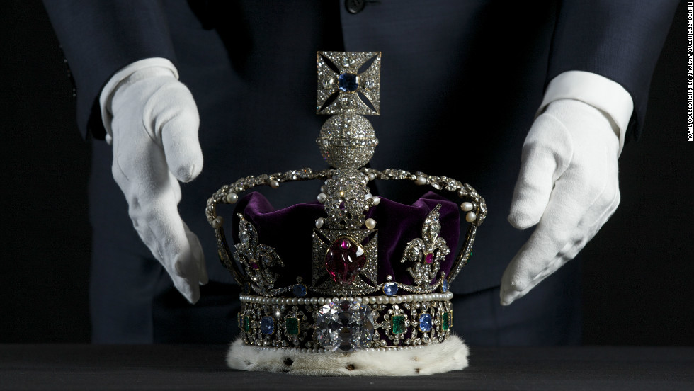 The Imperial State Crown is worn by the monarch at the end of the coronation ceremony, and at formal occasions including the annual opening of Parliament. The current version was made in 1937, and is set with some of the most famous stones in the collection, including the Cullinane II, or Second Star of Africa diamond, and the Black Prince's Ruby. The pearls suspended from its arches are said to have been Queen Elizabeth I's earrings.
