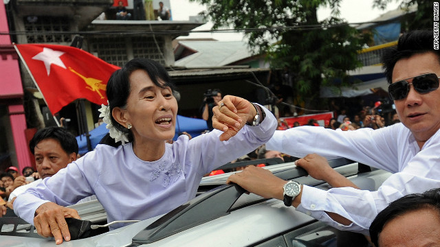 After declaring victory, Aung San Suu Kyi told her cheering supporters that it wasn't her victory, but their own.