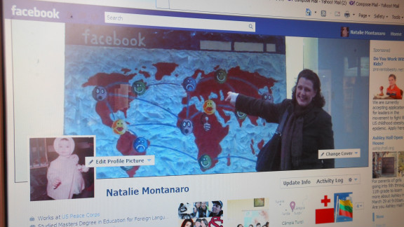 "Natalie Montanaro's cover photo is a little meta -- it's her standing in front of an illustration of Facebook's homepage she spotted in Skopje, Macedonia. She says she liked the image because it ""represented the basic idea of Facebook's creators, which was to exchange information across the miles."" Montanaro isn't a big fan of Timeline, though; she says it makes it harder for her to see day-to-day updates. ""Can you go back in time 54 years and recapture all that has happened in my life? I think not,"" she says of the new format."