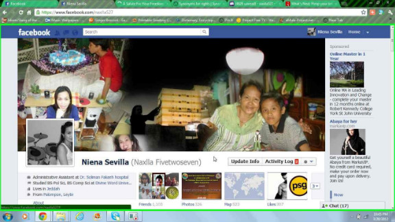 "Niena Sevilla is the rare Facebook user who was a fan of Timeline from the beginning, and she likes it for more than just the large cover photo. ""By uploading my certificates, images of my achievements and experiences on life events, I can reminisce(about) those exciting moments,"" she says. ""What I love the most is the cover photo because just by looking at it, it tells everything about you!"" Her cover photo is a collage of pictures of her parents and children. ""It makes me feel closer to them,"" she says. And she's uploaded all kinds of important events (with photos) to her Timeline, such as her baptism and even the first CNN story in which she was mentioned."