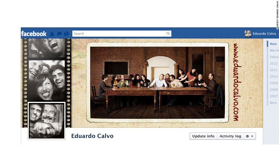 "Eduardo Calvo is a professional photographer so he wanted to use his cover photo to show off his skills. ""I thought the lefthand side, showing the profile photo as a square, would perfectly fit a negative/slides strip,"" he says, so he visited an old-school photo booth to get some images. To complete the look, he used the right side of his cover photo to <a href=""http://ireport.cnn.com/docs/DOC-764944"">show off a great picture</a> he took of some friends in his hometown of Dublin, Ireland -- the panoramic aspect ratio really fills out the space."