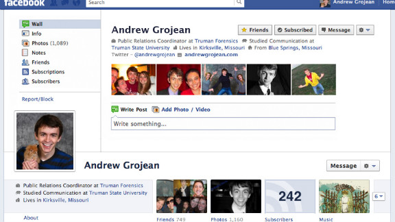 "Andrew Grojean of Kirksville, Missouri, says he loves Timeline and switched to it as soon as it was available. But he knows a lot of people don't feel the same way. ""So I tried to think of a way that people could protest the change without quitting Facebook. That's where my vintage or 'old school' cover photo design comes in,"" he says. Grojean styled his cover image to look exactly like his old profile. He says he was hoping to make other users do a double take."