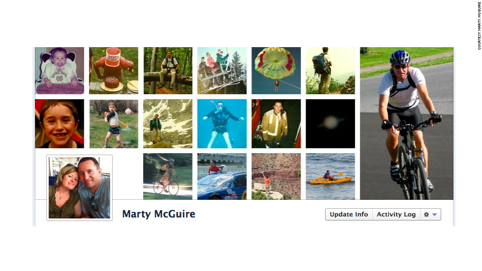 "Marty McGuire's cover photo is his ""Timeline within a Timeline."" It's a <a href=""http://ireport.cnn.com/docs/DOC-767291"">series of images</a> of him from childhood until the present day. He says he really likes the new format: ""It's a digital scrapbook and makes it easier for me to browse past events."" But the Allentown, Pennsylvania, resident says he's skeptical about one thing: ""I wonder, though, if anyone browses my own Timeline, or just keeps up with me using the Newsfeed."""
