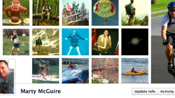 "Marty McGuire's cover photo is his ""Timeline within a Timeline."" It's a series of images of him from childhood until the present day. He says he really likes the new format: ""It's a digital scrapbook and makes it easier for me to browse past events."" But the Allentown, Pennsylvania, resident says he's skeptical about one thing: ""I wonder, though, if anyone browses my own Timeline, or just keeps up with me using the Newsfeed."""