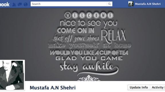 """I believe the best way to get a strong friendship, is by making a great greeting,"" says Mustafa Al Shehri of Saudi Arabia. He designed his cover image as a bit of typography art that welcomes visitors to his Facebook page in many different ways. He created the image himself in Photoshop and says he was trying to ""take the most advantage of this huge space."""