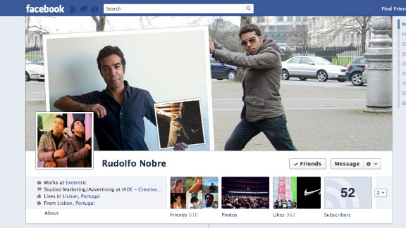 """Disclaimer: I'm a fan of Facebook Timeline,"" writes Rudolfo Nobre of Lisbon, Portugal. He works in digital marketing and social media, so he says he was ""eager to start playing with the cover pic as soon as it came out."" He describes his image as sort of like the film ""Inception"" -- a picture of himself holding up a picture of himself holding up another picture of himself. Nobre says he appreciated Facebook's previous visual simplicity but likes Timeline as well: ""With the cover pic, you now have a canvas that you can use to tell everyone, upfront, a bit of who you are, what you're using Facebook for, or how you're feeling."""
