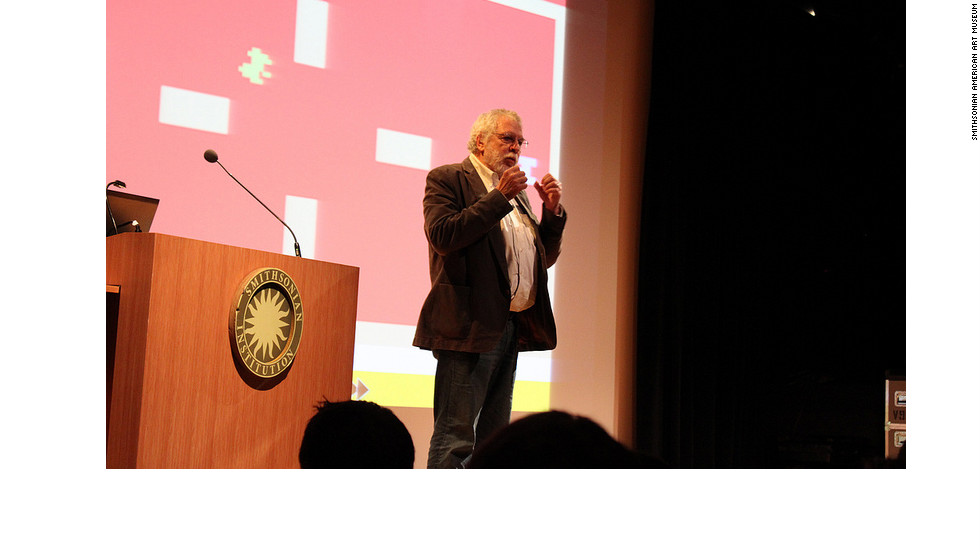 Nolan Bushnell, the founder of Atari and inventor of Pong, speaks to the opening weekend crowd. Bushnell talked about the inspiration for the game and the future of the video game experience.