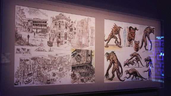 """Concept art from """"Fallout 3"""" shows visitors the vision of the artists as the games were being developed. Lots of ideas about creatures and settings  -- in this case, a post-apocalyptic Washington -- are tossed around before a final version is placed in the game."""