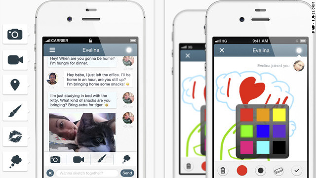 Pair is an app created for couples to share pictures, videos, text and drawings with each other.